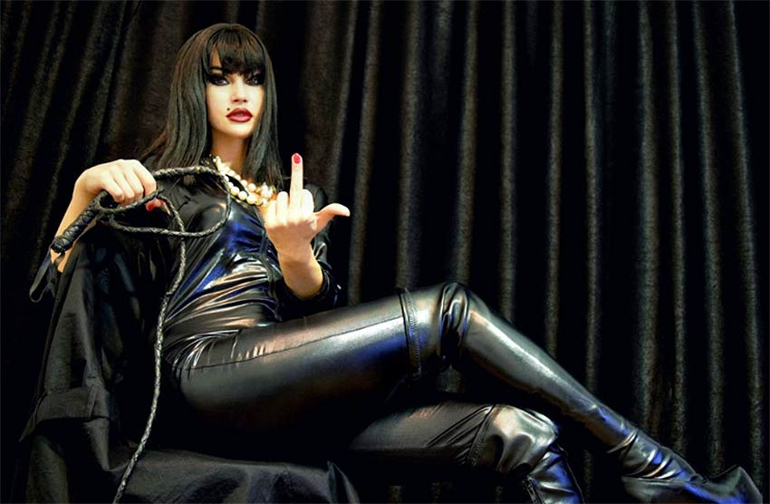 Dominatrix in leather