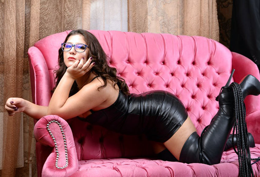 Sexy brunette in black leather