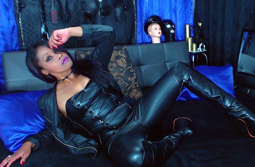 black leather ebony
